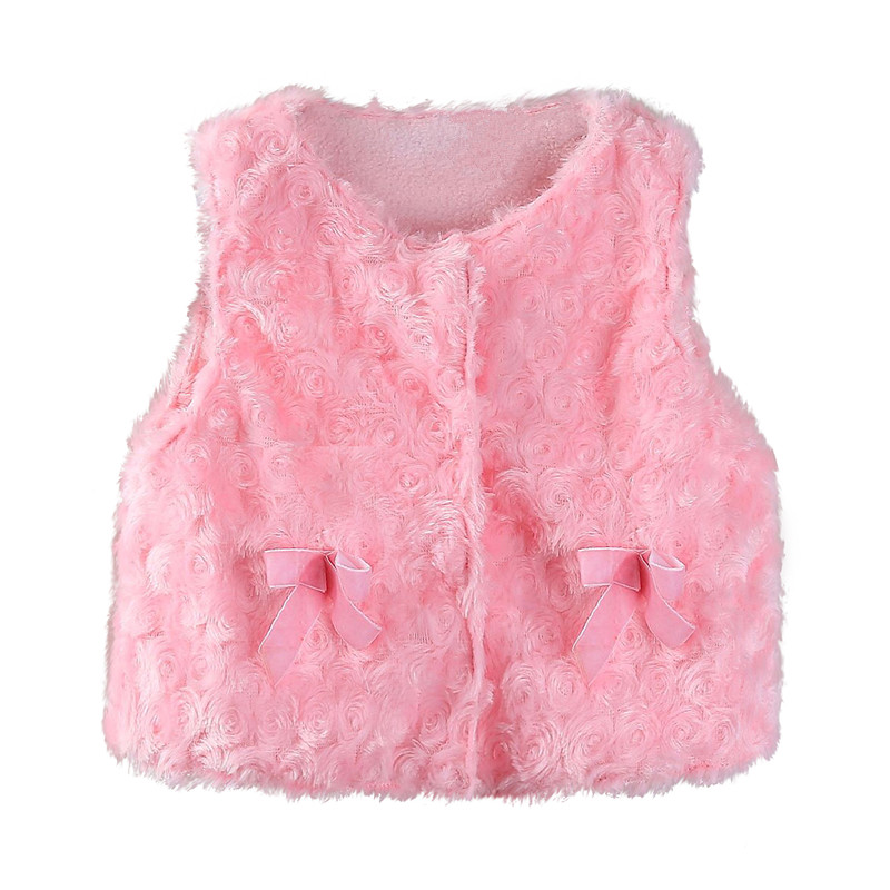 Mudkingdom Baby Girl Faux Fur Vest With Bow Infant Tops Toddler Snap Closure Fleece Waistcoat Girl Winter Clothes