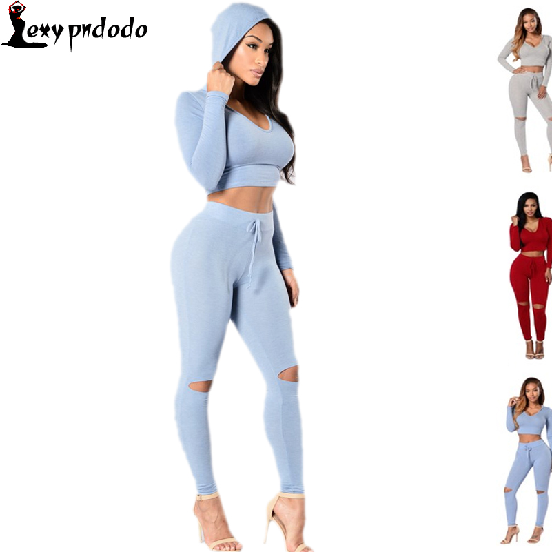 Deporte Hot Autumn 2 Piece Set Women Long Pants And Crop Top Suits Summer Style Elastic Waist Flared Pants Woman