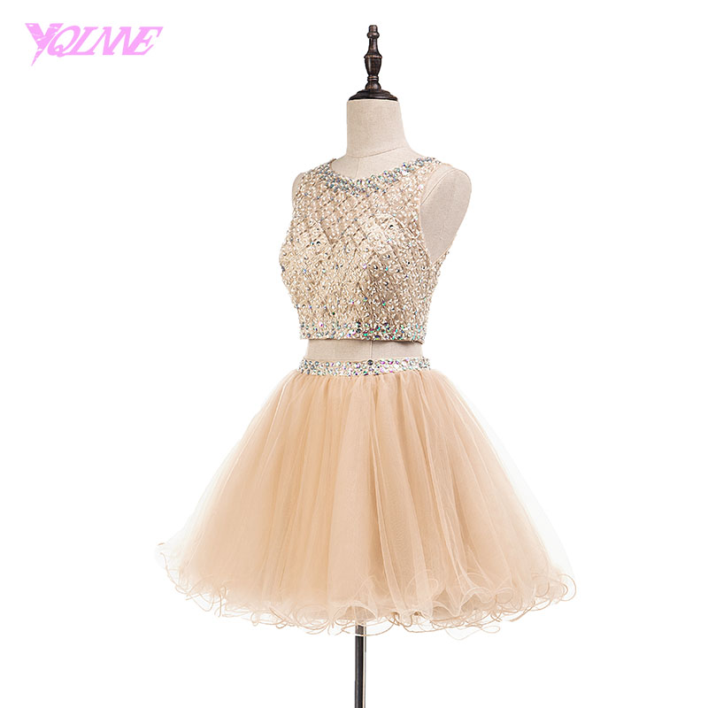 9071dcf82ee YQLNNE Sexy Two Pieces Champagne Short Homecoming Dresses Crystals Beading  Party Dress Tulle Knee Length