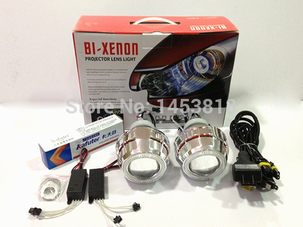 2.8HQI 35w 2.8 inch Hid Bi xenon Projector Headlight kit CCFL Double Angel Eyes For Headlight H1 H4 H7 H11 4300k 6000k 8000k 2 5inch bixenon projector lens with drl day running angel eyes angel eyes hid xenon kit h1 h4 h7 hid projector lens headlight