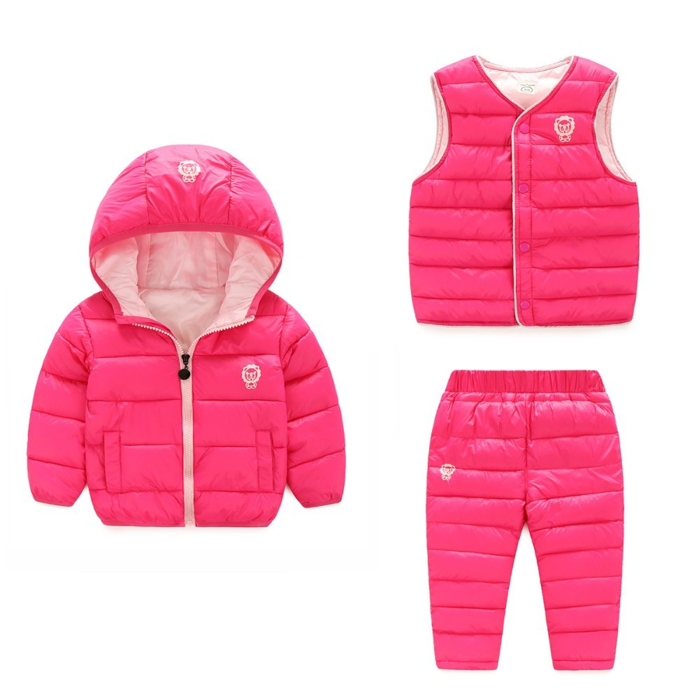 New 2018 Children Set Boys girls Clothing sets winter hoody Down Jacket+vest+Trousers Waterproof Snow Warm kids Clothes suit поводок для собак happy house luxury цвет темно коричневый длина 125 см
