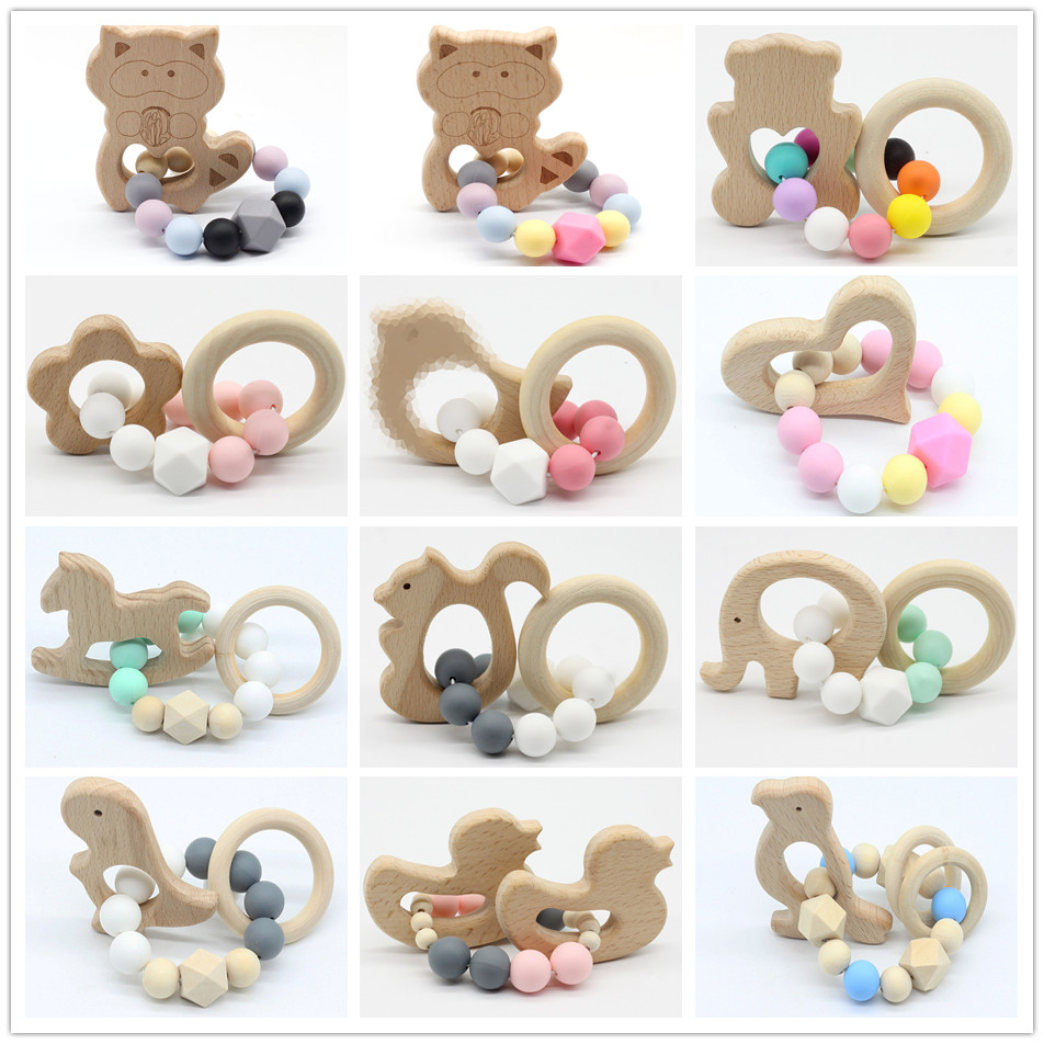 Baby Nursing Bracelets Wooden Teether Crochet Chew Beads Teething Wood Rattles Toys Teether Montessori Bracelets bracelets