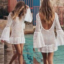 Женское бикини с открытой спиной, кружевное пляжное платье, с длинным рукавом, с открытой спиной, сексуальный летний купальный костюм, Белые пляжные платья