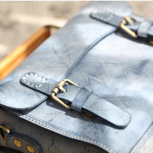 Handmade Original 2018 Vintage Women Handbags Cow Leather Messenger Shoulder Bag Vegetable Tanned Leather Bags Foggy skin