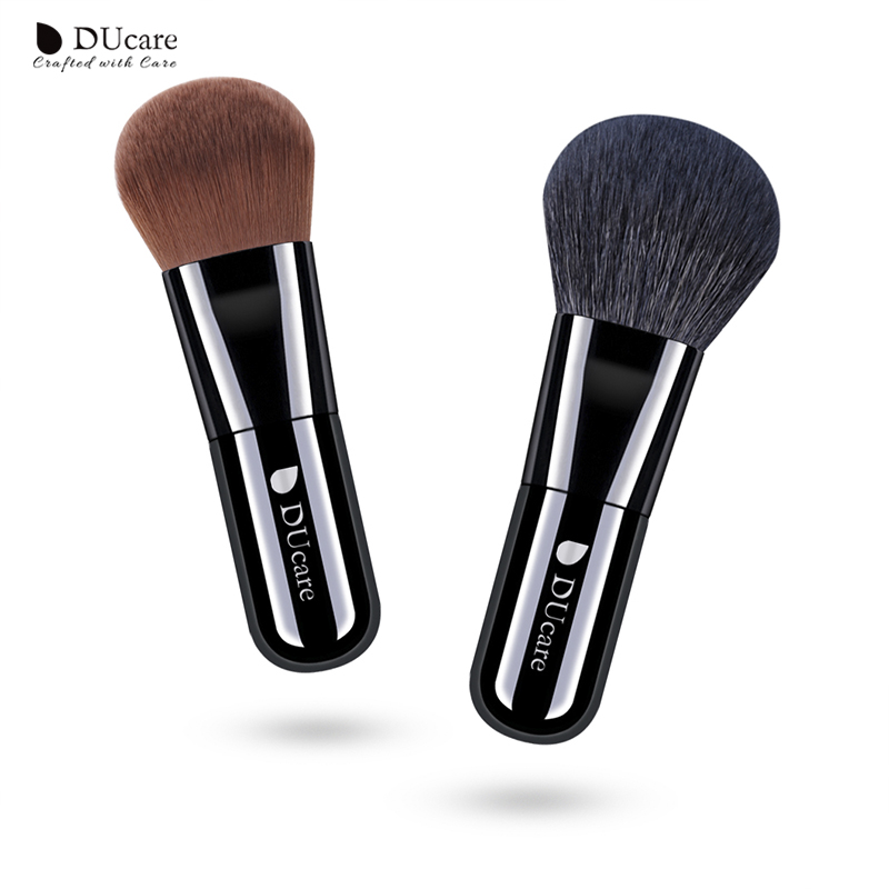 DUcare 2 PCS Foundation Brush Powder Brush Natural Hair Portable Makeup Brushes for Cream Mineral makeup brushes