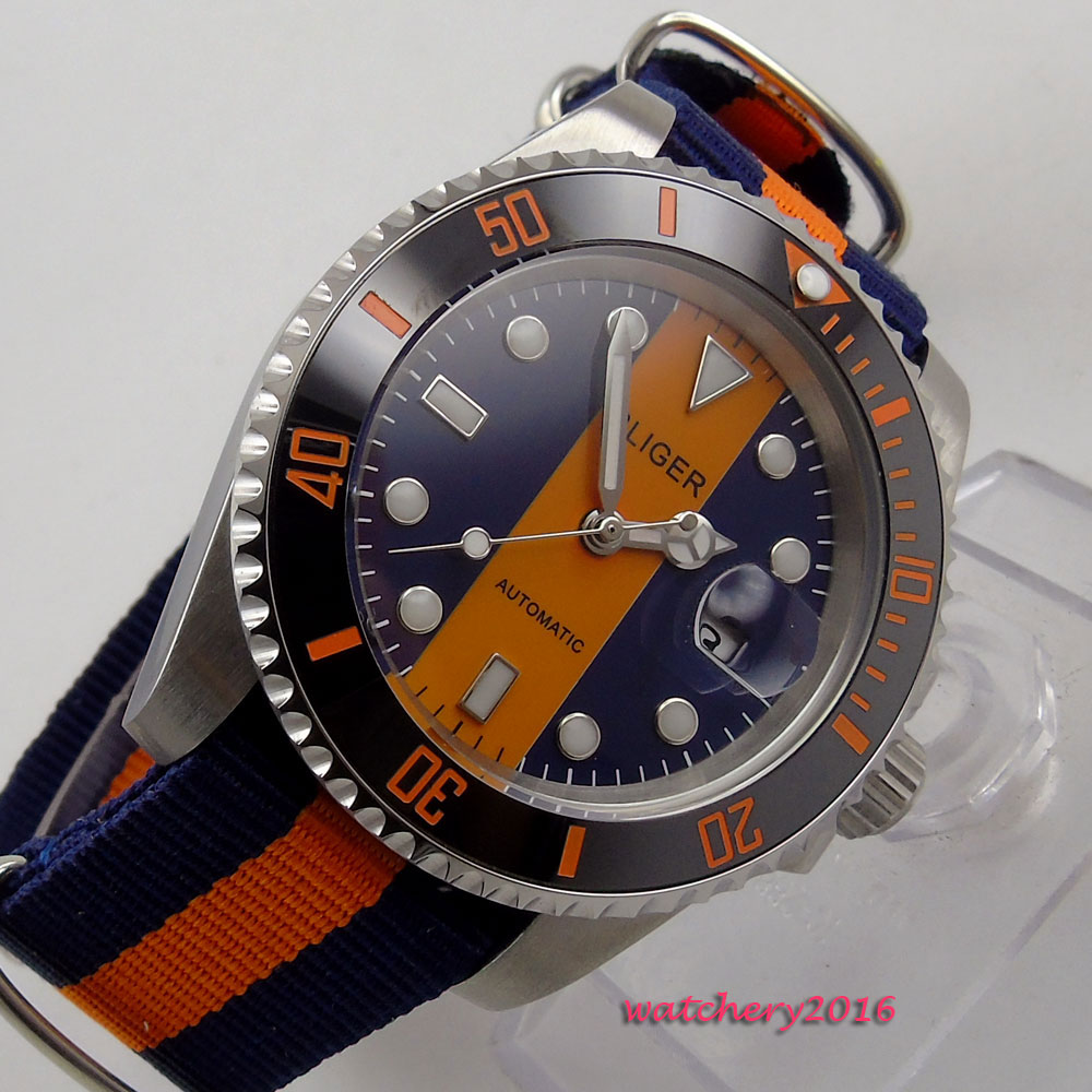 40mm Bliger Blue & orange dial black ceramic bezel Sapphire Glass Date Luminous Marks Automatic Men's Mechanical Wristwatches
