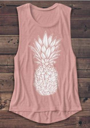 2018 New Women   Tank     Tops   Pineapple Printed Casual Female   Tank   Fashion Summer Pink Femme Vest Loose Ladies   Tops   t shirt