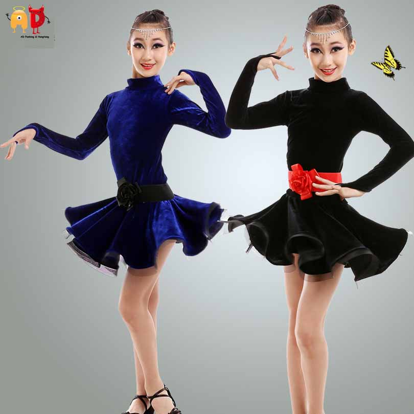 AD Pleuche Girls Latin Dance Dress Professional Competition Training Dancing Dresses цена 2017
