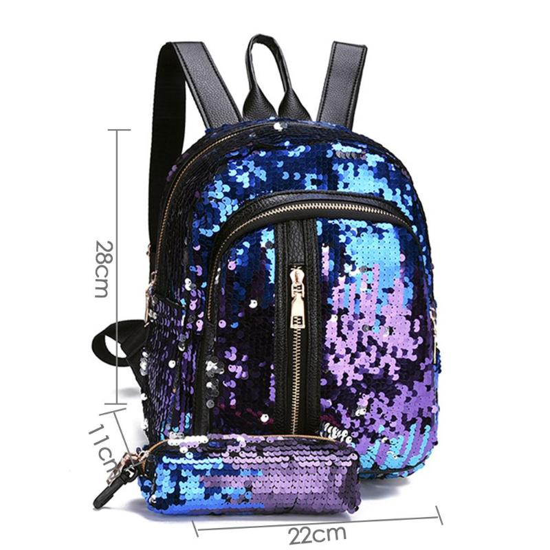 2pcs/set New Teenage Bling Glitter Sequins Backpack Girls Rucksack Students School Bag With Pencil Case Clutch #6
