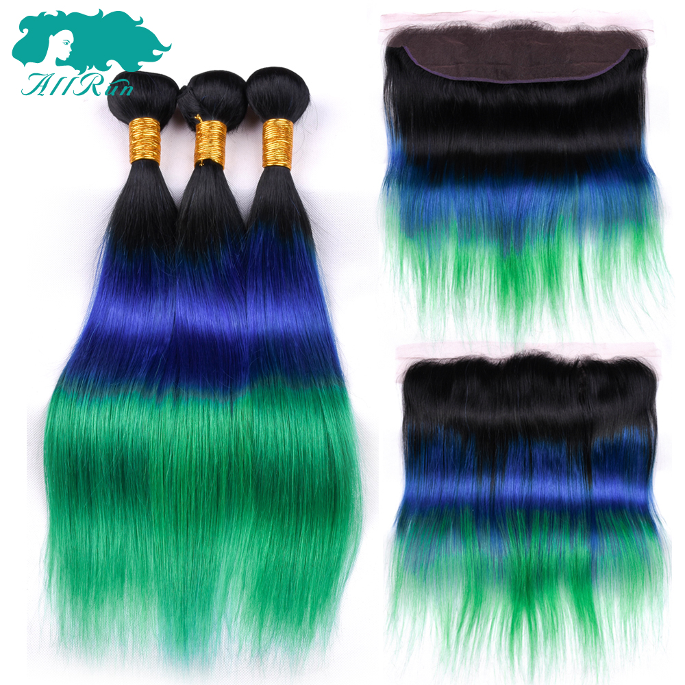 Allrun Hair1b/blue/green Ombre Human Hair Weaves 3 Bundles Brazilian Straight Hair Weave With Frontal Non Remy