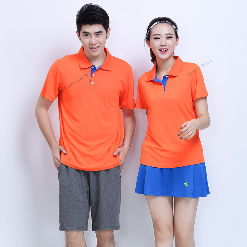 Adsmoney Men Women Tennis Shirts with shorts skirts , Solid color Short Sleeve Quick Dry Cool Golf Tennis Jerseys Stand Collar
