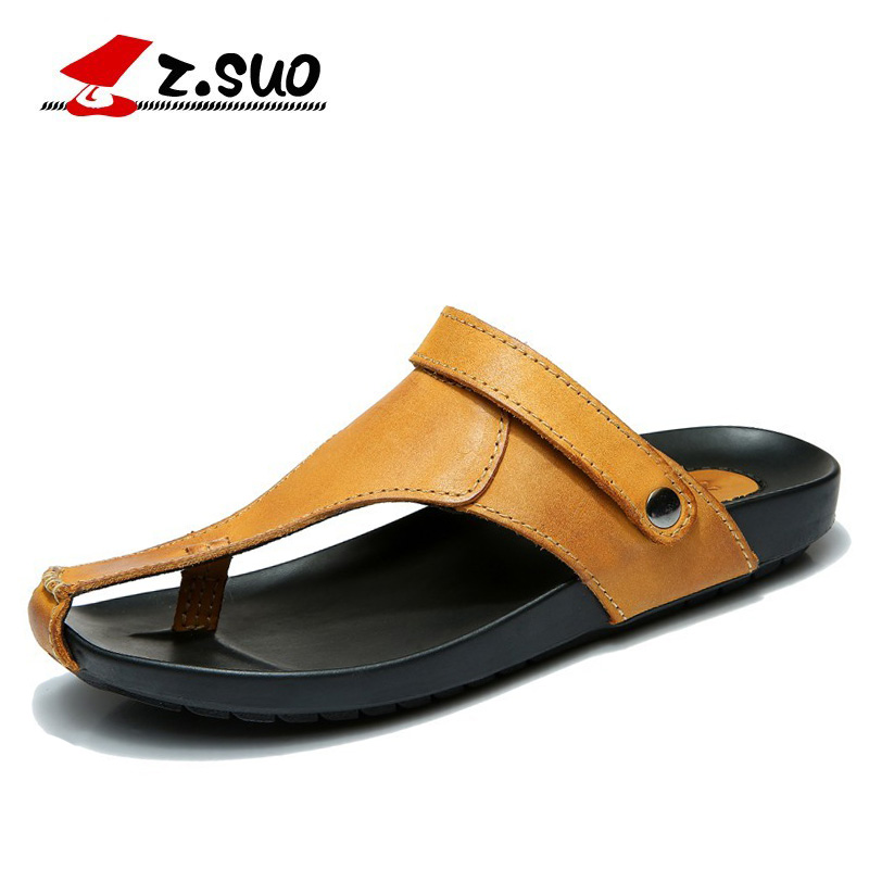 Z.SUO Brand 2018 Summer Genuine Leather Men's Slippers Beach Sandals Shoes Multifunction Leather Men Flip Flops Big Size 45 46