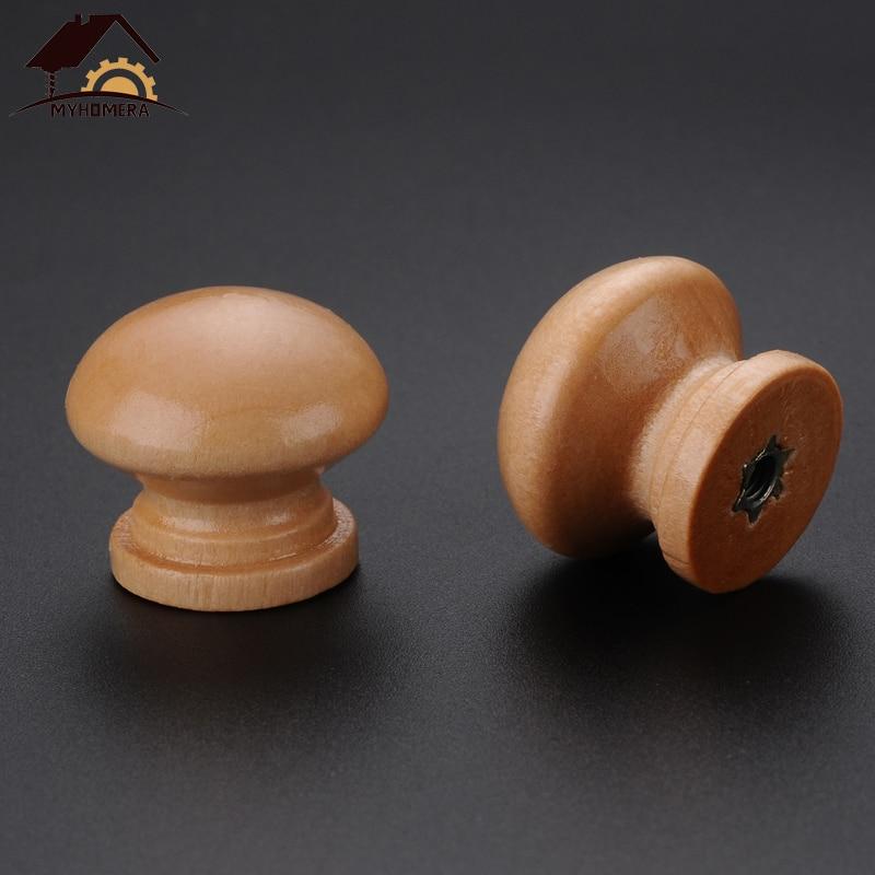 Myhomera 10Pcs Wooden Knob Drawer Pulls Cabinet Wardrobe Handle Round Knobs Kitchen Furniture Hardware Wholesale Lot 24*21mm