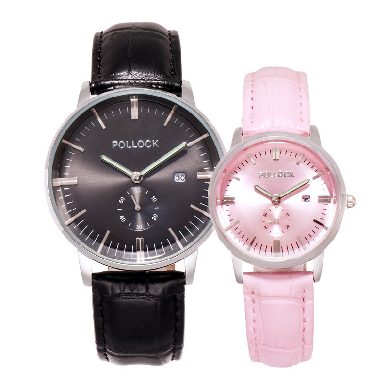 Fashion Couple Watches Leather Men's Watch Waterproof Women's Quartz Wristwatches Calendar Gift for Men Lover's Watch Pair Clock