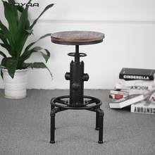 iKayaa Metal Industrial Bar Stool Height Adjustable Swivel Pinewood Top Kitchen Dining Chair Pipe Style Barstool W/ Footrest(China)