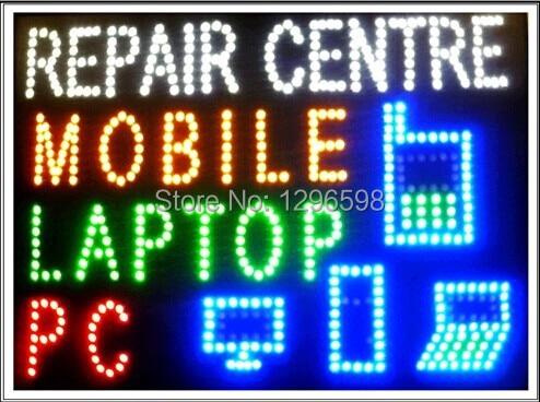 CHENXI Aliexpressi kuummüügi kohandatud graafika 19X19 tolline siseruumides ülikerge vilkuv mobiilse / arvuti / sülearvuti remondikeskuse märk led-