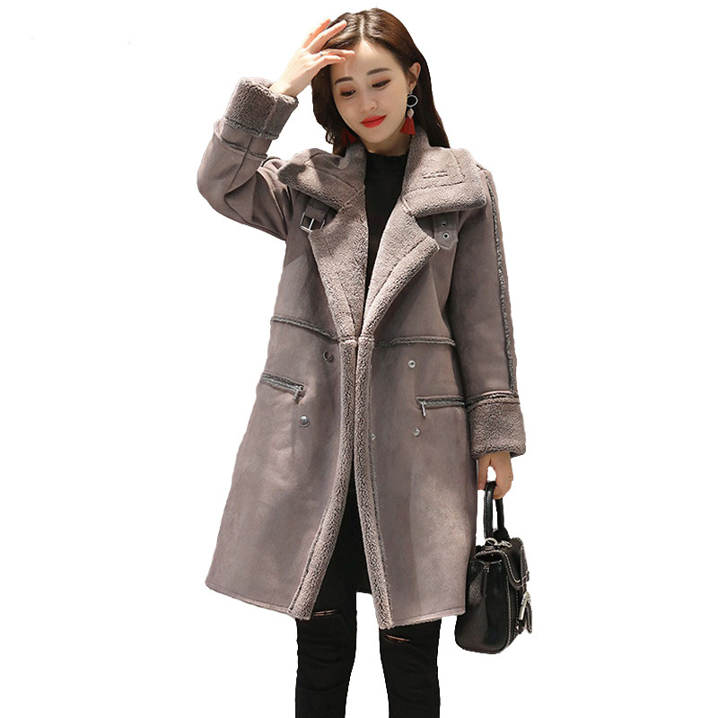 Suede Leather Winter Jacket Women 2017 Warm Lambswool Coats Warm Thick Korean Style Overcoats Elegant Pink Long Coat