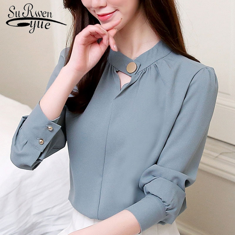 fashion women   blouse   2019 long sleeve blue women chiffon   blouse     shirt   OL   blouse   women tops   shirt   blusas feminine   blouses   0612 50