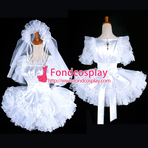 Free shipping lockable satin sissy maid wedding dress for Tailor made wedding dress
