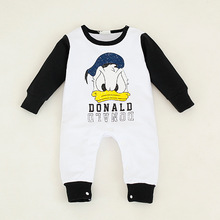 New 2016 Fashion Cartoon Cotton Kids boys Clothes Jumpsuit Baby Boy and girl Rompers Donald Duck Romper Baby Costume