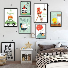 Nordic Style Cute Cartoon Cat Monkey On Canvas Painting Wall Decor Art Nursery Poster And Prints Pictures for Kids Room No Frame(China)