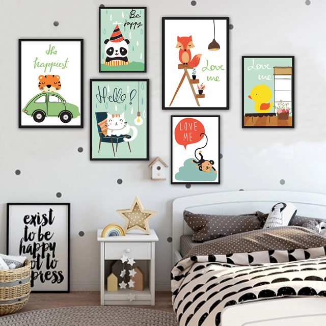 Nordic Style Cute Cartoon Cat Monkey On Canvas Painting Wall Decor Art Nursery Poster And Prints