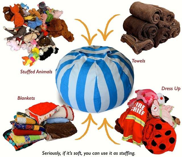 Creative Stuffed Animal Bean Bag Chair Portable Kids Toy Bag U0026 Play Room  Mat Clothes Storage
