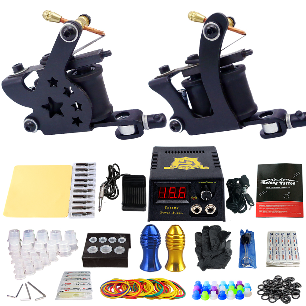 Solong Tattoo Pro Tattoo Kit 2 Rorary Tattoo Machine Gun Power Supply 1 Practice Skin Dual-sided Re-usable One Set TK202-21 miracool neck bandana re usable 100 s of times keeps you cool red 2 pack