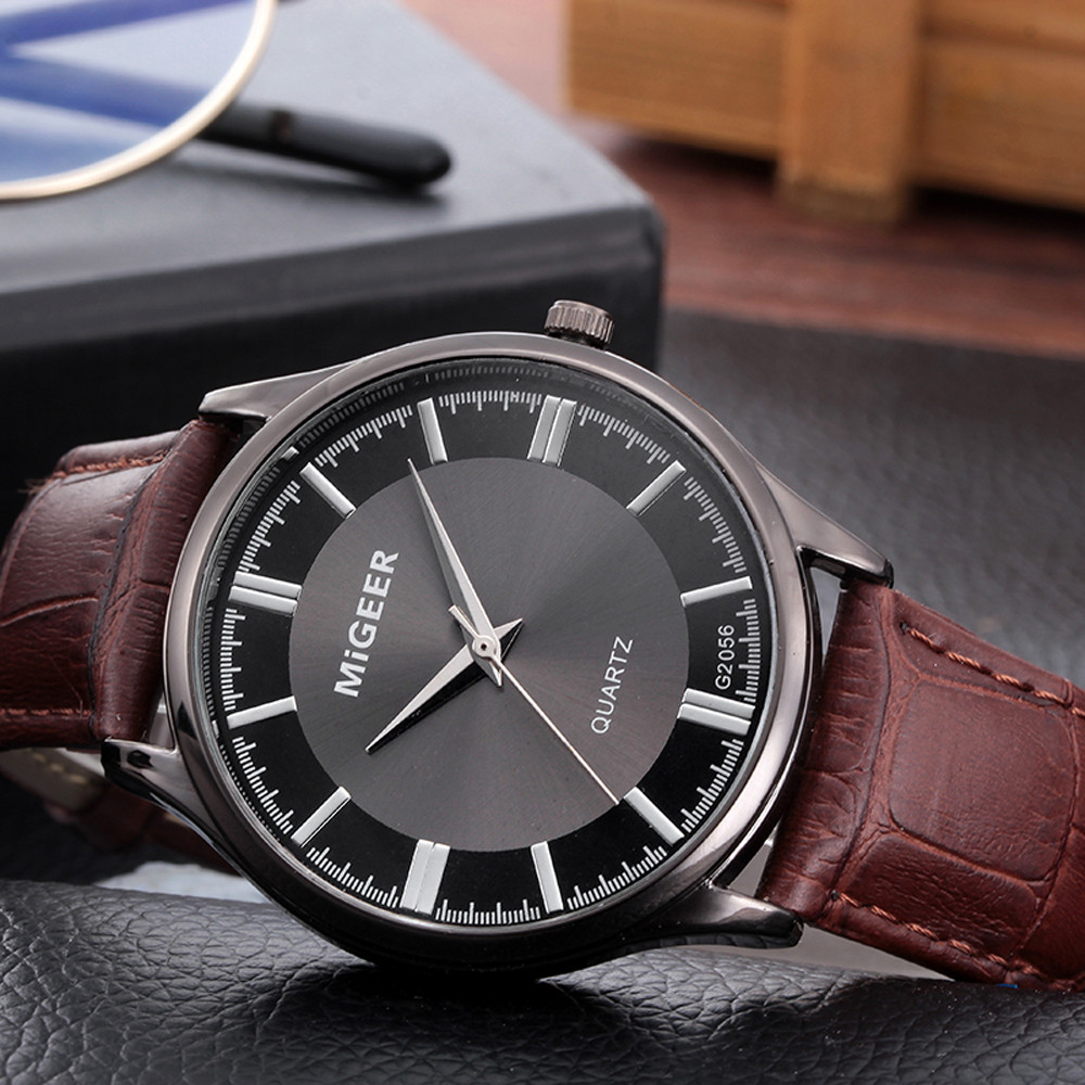 Business Watches Men Retro Design Leather Band Analog Quartz Wrist Watch Classics Brand Sport Digital  Masculino