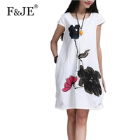 New Fashion 2016 Summer Arts Style High Quality Cotton Linen Loose Casual Women Dresses Vintage Ink