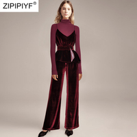 2018 Designer Runway European And American New High end Women's Long Sleeved Stand Collar Shirt + Ankle Length Pants Suits H5346