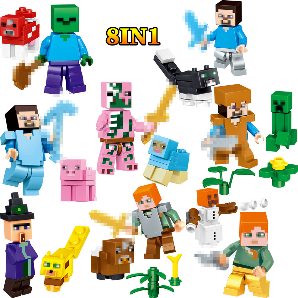 My World Action Figures Blocks Steve Compatible LegoINGLYS Minecrafted Zombie Set Bricks Enlightening Fun Toys For Children 4 in 1 my world legoelied steve alex zombie king of bam rock knight minecrafted minifigure building blocks bricks boy toy gift