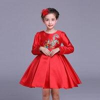 New Year Phoenix Pattern Chinese Dress Girls Full Spring Autumn Red Cheongsam Children Festival Performance Dress Cloth 3-10Year