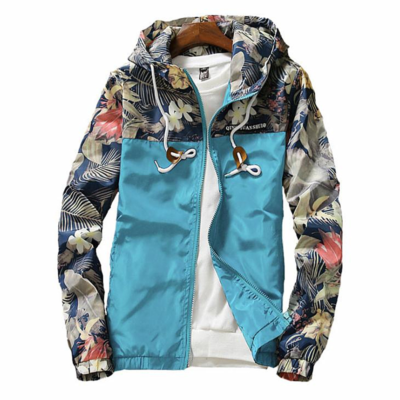 Hot sale Women   Jackets   Spring Windbreaker Women   Basic     Jacket   Coats Female Zipper print Flowers Lightweight   Jackets   Plus Size 5XL