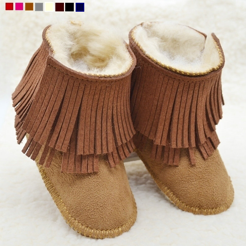 Genuine leather fringe winter shoes wool newborn baby boots first walker snow tassel baby moccasins