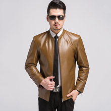 2016 Autumn Winter Leather Jacket Men Stand Collar Slim Leather Coats Mens Business Leisure Clothing