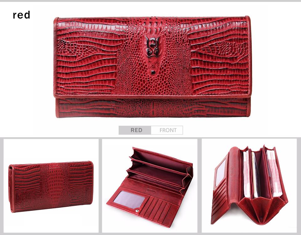 Genuine Alligator Leather Women's Long Wallet