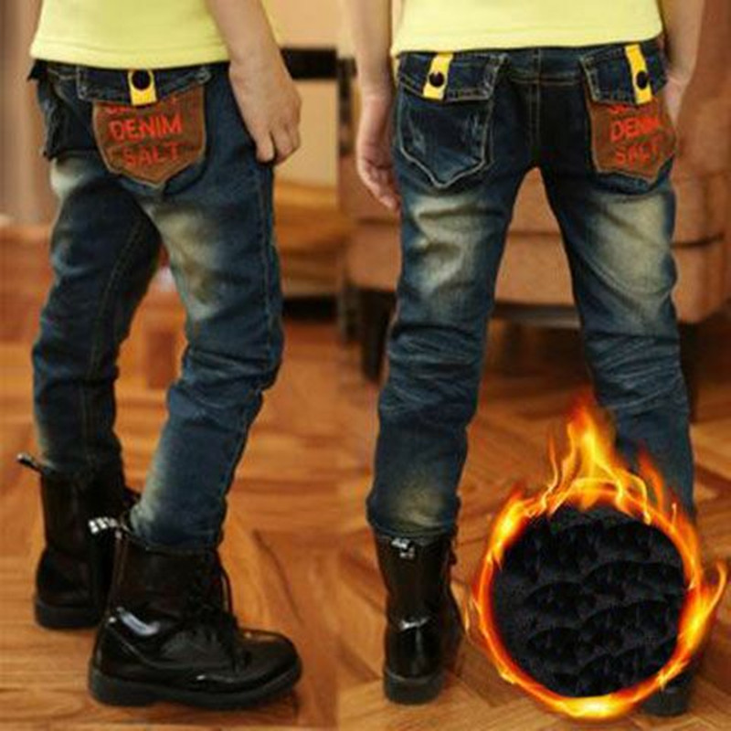 цены Boys Plus Velvet Jeans 2018 New Winter Thick Slim Casual Denim Children Cowboy Trousers 110-150 Elastic Waist Children Clothes