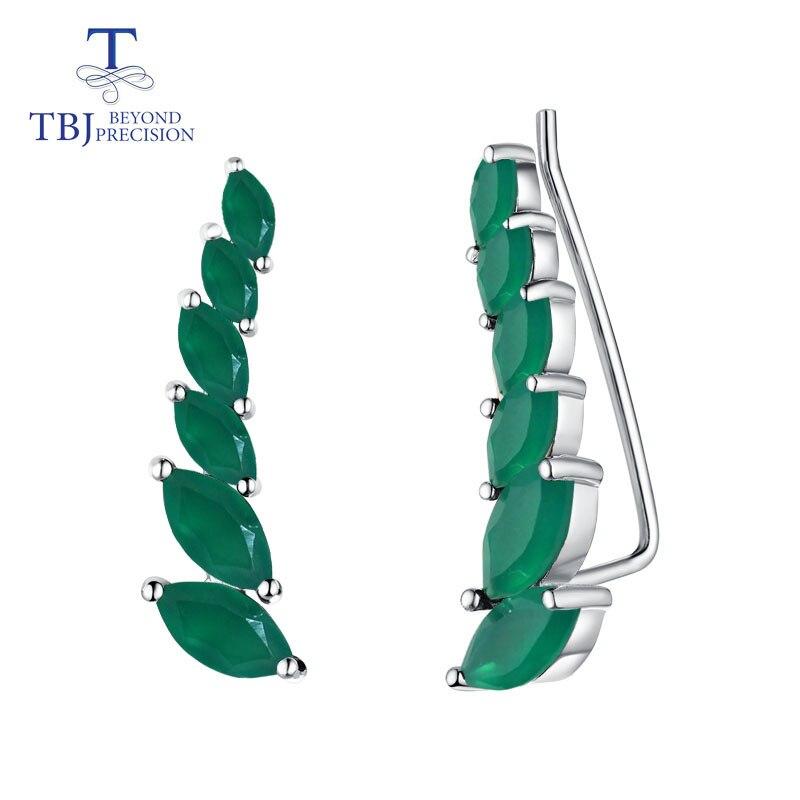 TBJ green agate earrings natural gemstone simple elegant design 925 sterling silver fine jewelry for women