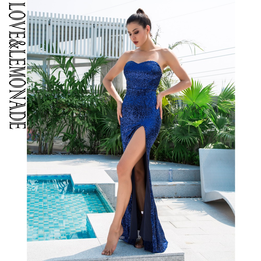 3e3779464a3 Love Lemonade Navy Tube Top Cut Out Fish Tail Shaped Elastic Sequin  Material Long Dress LM1053-in Dresses from Women s Clothing on  Aliexpress.com