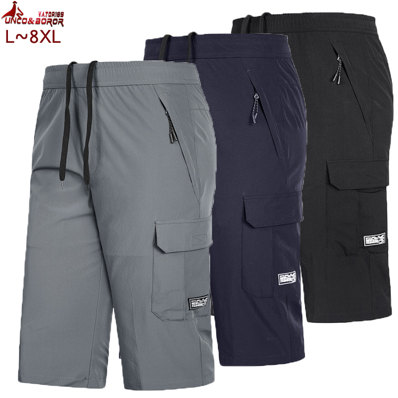 Men's Big & Tall Cargo Shorts Quick-dry Knee Lenght 7XL 8XL Male Bermuda Beach Short Slim For Breathable Men Joggers Gym Shorts