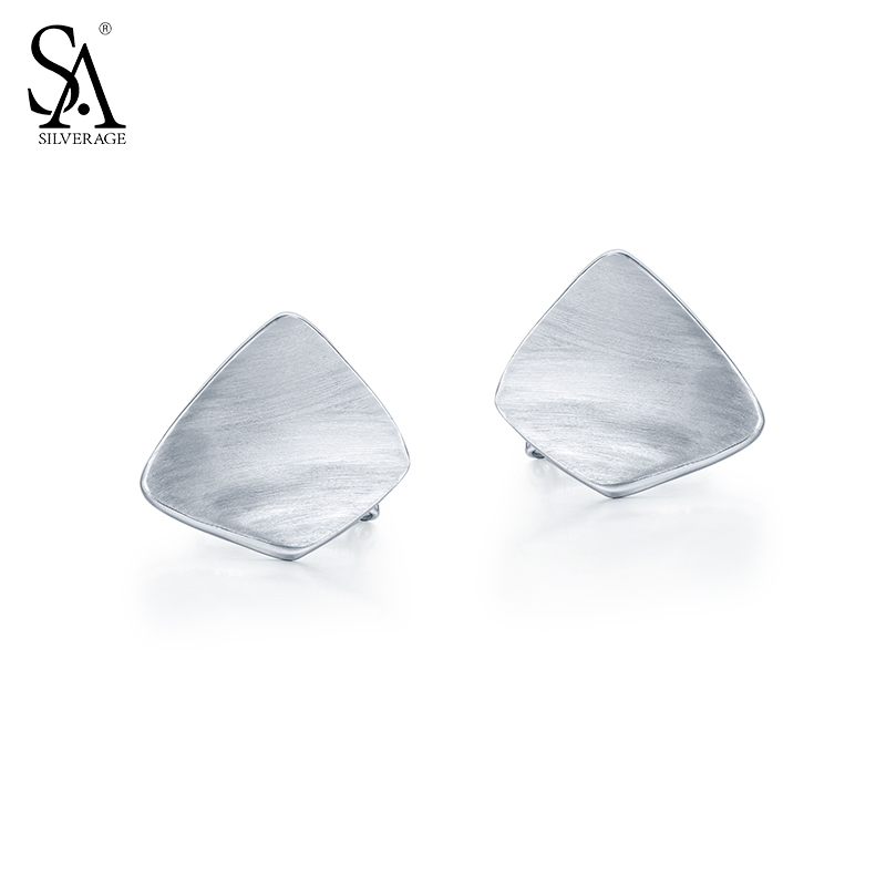 SA SILVERAGE 2017 New Design Genuine 925 Sterling Silver Stud Earrings for Women Geometry Fine Jewelry Brincos sa silverage genuine 925 sterling silver fine jewelry for women stud earrings black 2018 hot sale