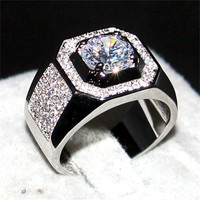 Choucong Jewelry Men S 925 Sterling Silver Rose Gold AAAAA Zircon Paev Cz Stone Ring Engagement