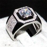 Choucong Takı erkekler 925 Gümüş & rose gold 1.5ct Diamant paev cz Taş yüzük Nişan Düğün Bantları boys Sz 7-13 hediye