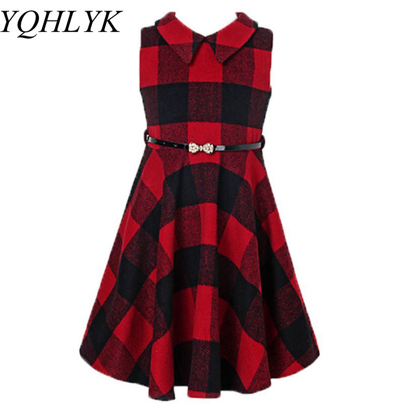 New Fashion Autumn Winter Girl Dress 2018 Korean Children Lapel Plaid Slim Princess Vest Dresses Sweet Elegant Kids Clothes W148