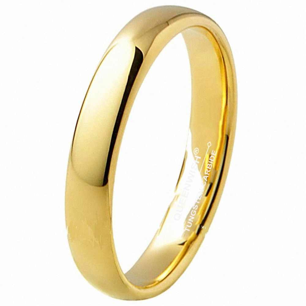 E Wedding Bands.Vintage Gold Color Classic Tungsten Ring 3mm Classic Wedding