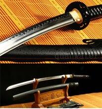 41 DAMASCUS FOLDED STEEL CLAY TEMPERED IRON TSUBA JAPANESE SAMURAI SWORD KATANA