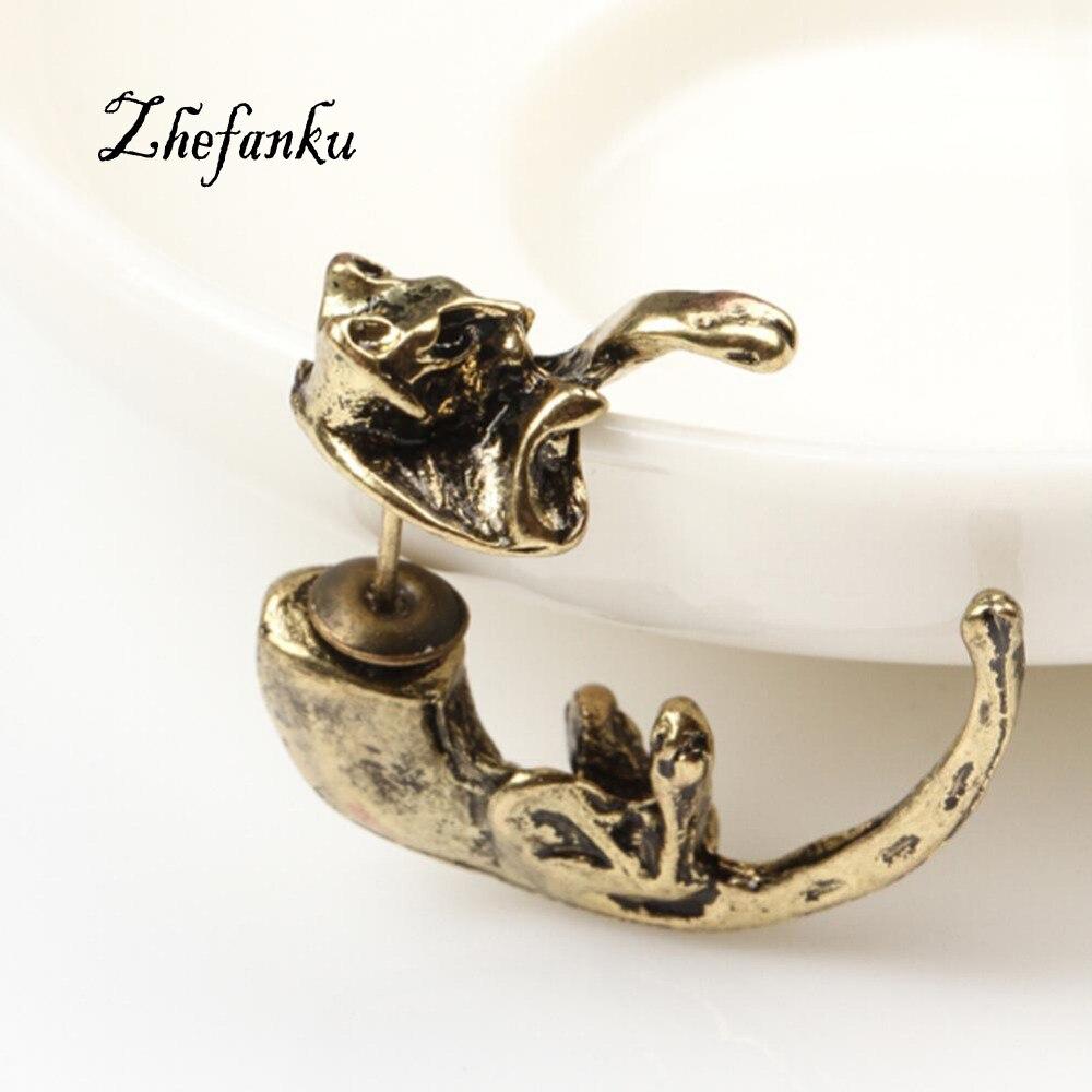 1pc Popular Long Tail Small Leopard Piercing Stud Earrings Black Cat Earrings For Girls Boys Mens Womens Ear Piercing Jewelry