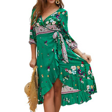 Women Autumn Floral Print Green Cross V Neck Bandage Short Dress Elegant Ruffles temperament Chiffon Dresses