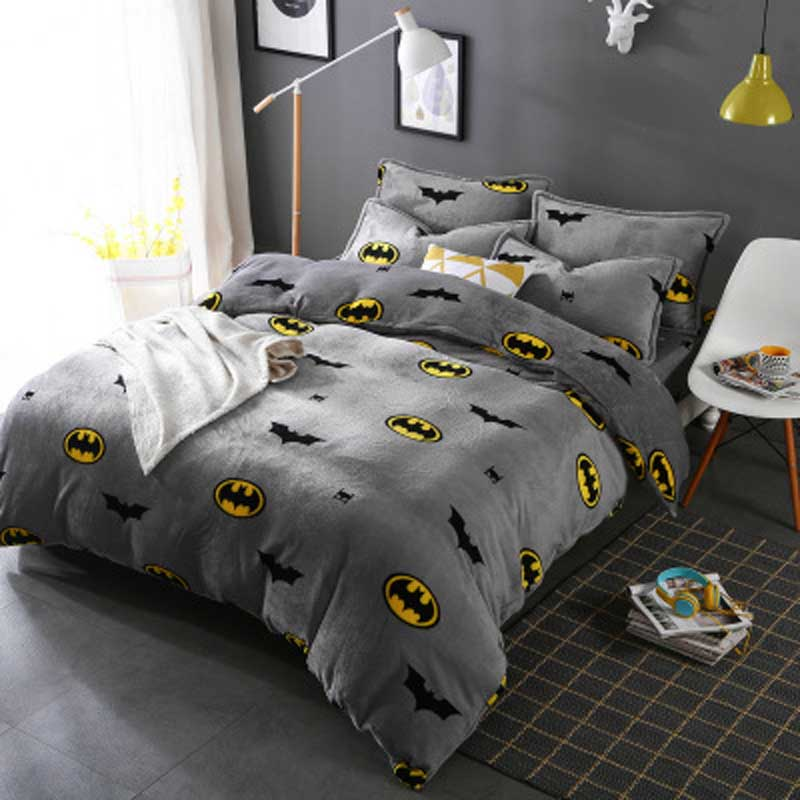 Batman pillows add an accent to the bedding sets. Shaped like a bat, the pillows are just the right size to accompany your little hero on long car rides. Many Batman bedding sets have matching curtains to complete the bat cave decor.